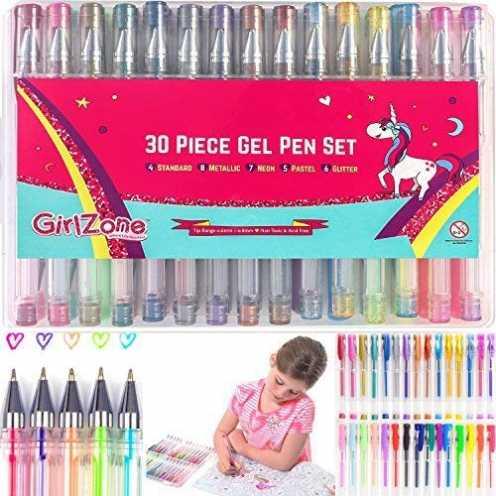 nachhaltig GirlZone Geschenke für Mädchen - Gelstifte Set für Mädchen, Set 30 Gelstifte Glitzer mit Etui - Malset Mädchen Zeichn... ökologisch