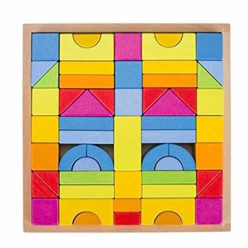 nachhaltig Goki 58624 Bausteine Regenbogenfarben 57-teilig aus Holz lasiert, Mehrfarbig ökologisch