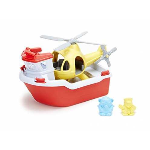nachhaltig Green Toys RBH1-1155 Rettungsboot mit Hubschrauber Wasserspielzeug, Multi ökologisch