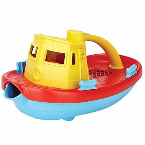 nachhaltig Green Toys TUG01R-Y Dampfschiff Badewannenspielzeug ökologisch