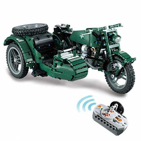 nachhaltig H0_V 629Teile 2.4GHz RC Militärisches Motorrad Bausteine Konstruktionsspielzeug Kompatibel mit Lego Technic ökologisch