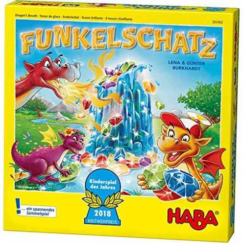 nachhaltig Haba 303402 - Funkelschatz Brettspiel, lustiges Mitbringspiel für 2-4 Spieler ab 5 Jahren, mit 90 Funkelsteinen und 9... ökologisch