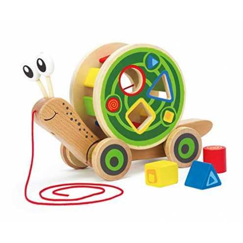 nachhaltig Hape E0349 - Nachzieh-Schnecke, Nachziehspielzeug, inkl. Farb- und Formensortierer, aus... ökologisch