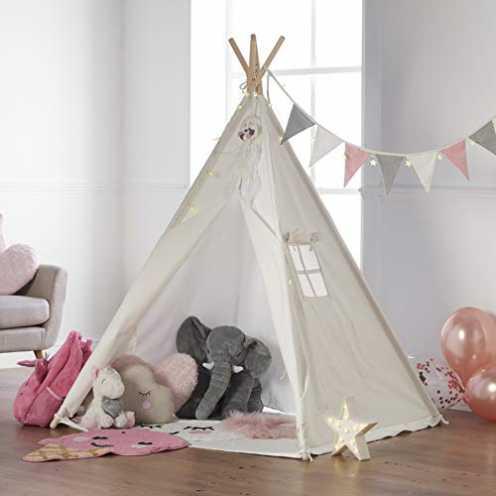 nachhaltig Haus Projekt Tipi Zelt Set Kinder mit Zubehör, Lichterkette, Wimpelkette, Aufbewahrungs... ökologisch