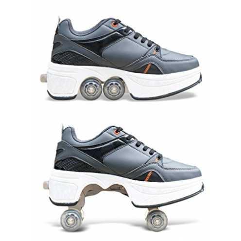 nachhaltig HDCM 2-in-1-Mehrzweckschuhe, Sportschuhe, Quad Skates, einstellbare Rollschuhe, EU39/UK6 ökologisch