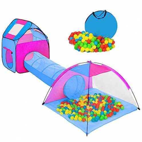 nachhaltig Hengda Spielzelt mit 200 Bälle Kinderspielzelt mit krabbeltunnel 3 Teiliges Bällebad Sp... ökologisch