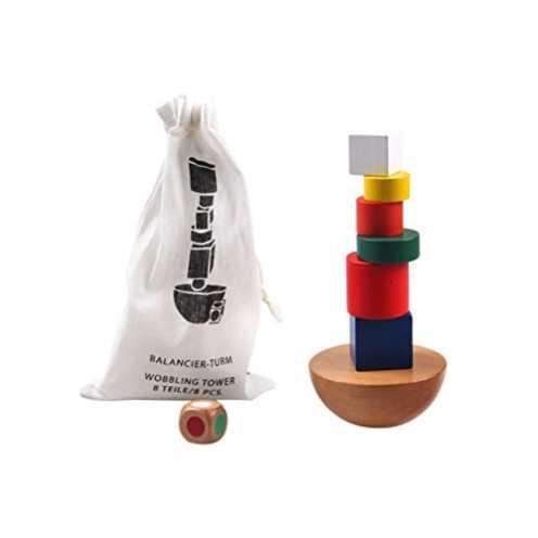 nachhaltig Montessori Spielzeug Turm aus Holz zum Stapeln & Balancieren von Blöcken in Bunt / Natu... ökologisch