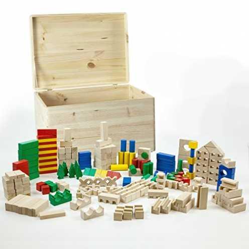 nachhaltig HolzFee Holz Bausteine 210 Holzklötze Buche mit Holzkiste ökologisch