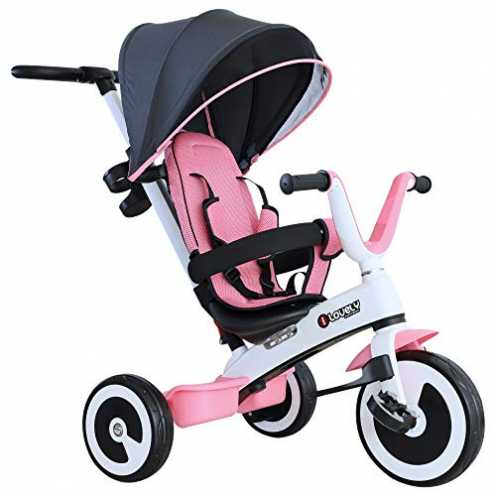 nachhaltig HOMCOM 4 in 1 Kinderdreirad Dreirad Kinder Fahrrad Rad Kinderwagen Schubstange Sonnendach Sicherheitsgurt ab 18 Monat... ökologisch