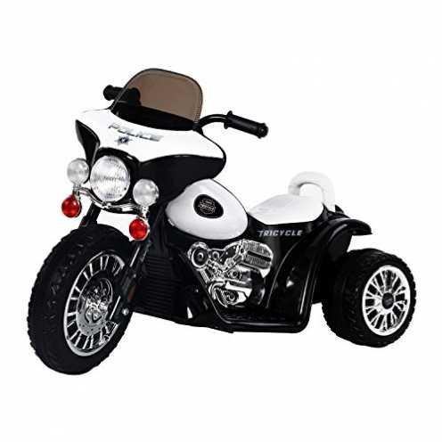 nachhaltig HOMCOM Elektro Kindermotorrad Elektromotorrad Kinderelektroauto Kinderfahrzeug Dreirad, 6V, Metall+PP, Schwarz+Weiß, ... ökologisch