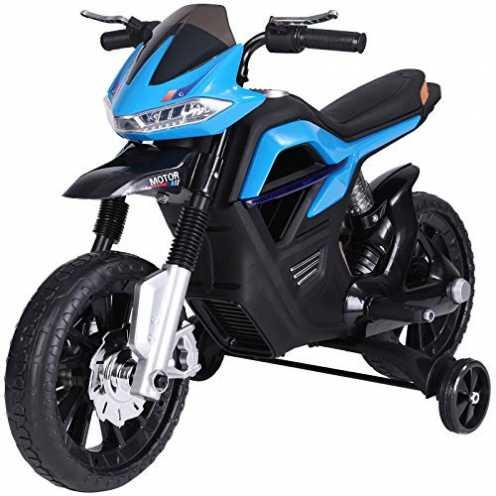 nachhaltig HOMCOM Elektro-Motorrad für Kinder ab 3 Jahren Licht Musik MP3 Elektrofahrzeug mit Stützrädern maximal 3 km/h Metall ... ökologisch