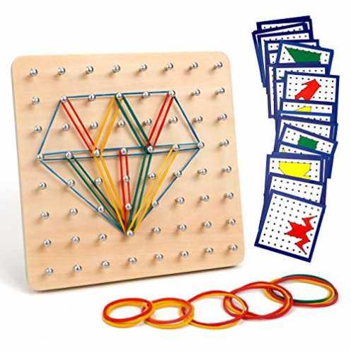nachhaltig Homealexa Holz Geoboard Set Geometriebrett Montessori Holz Spielzeug für Kinder, Inspir... ökologisch