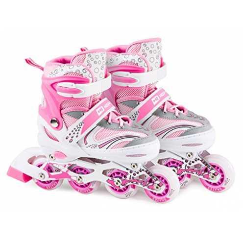 nachhaltig Hop-Sport 3in1 Inliner Inlineskates/Roller/Triskates für Kinder/Verstellbar/Farbe Weiß-Pink - M 34-38 (Pink M) ökologisch