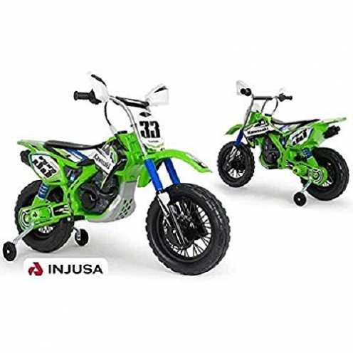 nachhaltig INJUSA - Motorrad Kawasaki 12V mit Erstbeschleuniger und Gummibändern auf Rädern für Ki... ökologisch