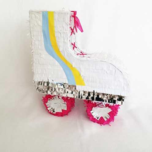 nachhaltig Peppige Rollschuh Piñata mit Silber Glänzenden Elementen im 80er Jahre Stil ökologisch