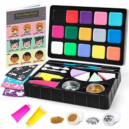 nachhaltig Jojoin Double Layer Kinderschminke Set, 15 Professionelle Schminkfarben, 2 Fluoreszierenden Farben,Gemalte Tutorial-... ökologisch