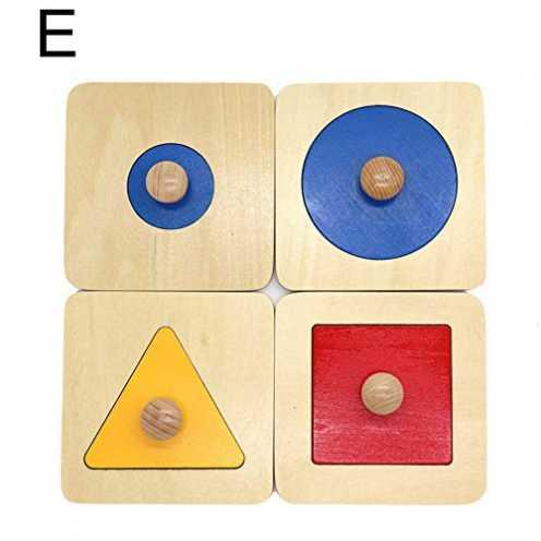 nachhaltig Kalaokei Baby Geometric Shape Match Montessori Wooden Knob Puzzle Pegboard Educational Toy ökologisch