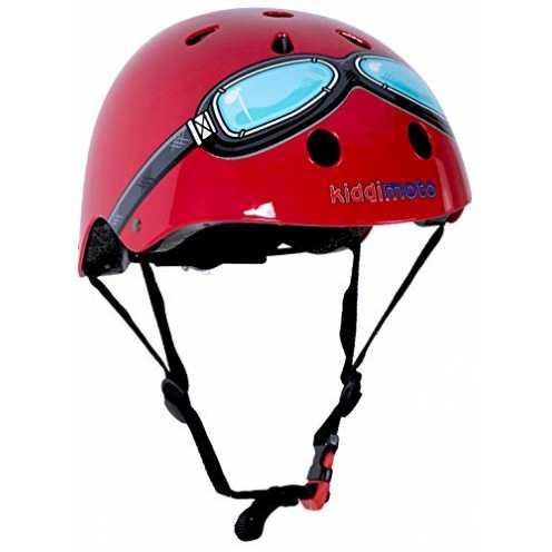 nachhaltig Kiddimoto Fahrrad Helm für Kinder / Fahrradhelm / Design Sport Helm für skates, roller, scooter, laufrad - Red Goggle... ökologisch