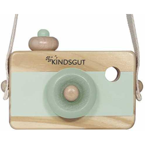 nachhaltigKindsgut Holzkamera, Spielzeug, Holz, aquamarin ökologisch