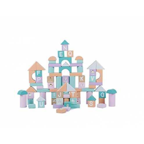 nachhaltigLalia Bauklötze aus Holz, 80 Teile XL großes Set Bausteine für Kinder ab 2 Jahren. Für ... ökologisch