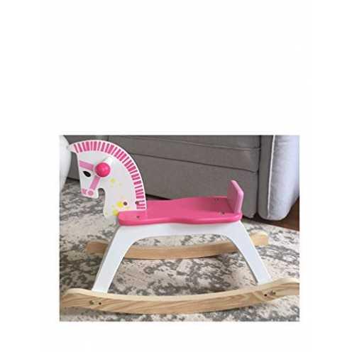 nachhaltig Lalia Schaukelpferd aus Holz groß rosa / weiß Pferd Holzspielzeug Tolles Geschenk ab 1 Jahr Spielzeug für Kinder ökologisch