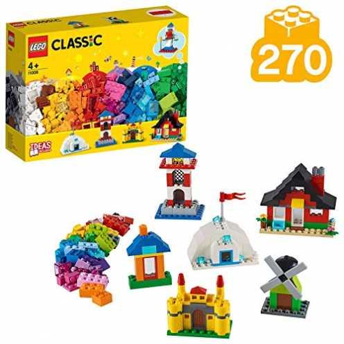 nachhaltig LEGO 11008 Classic Bausteine - bunte Häuser Bauset, Spielzeug für Vorschulkinder ab 4 Jahren mit 6 einfachen Modellen ökologisch