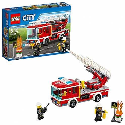 nachhaltig LEGO City 60107 - Feuerwehrfahrzeug mit fahrbarer Leiter, Cooles Spielzeug für Kinder ökologisch