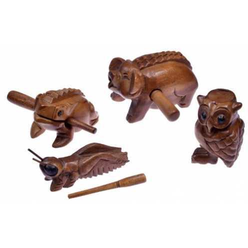 nachhaltig Logoplay Holzspiele 4 Klangtiere im Set ( Frosch, Schwein, Grille, Eule) - Klang Tiere - Musik Tiere - Musik-/Percuss... ökologisch