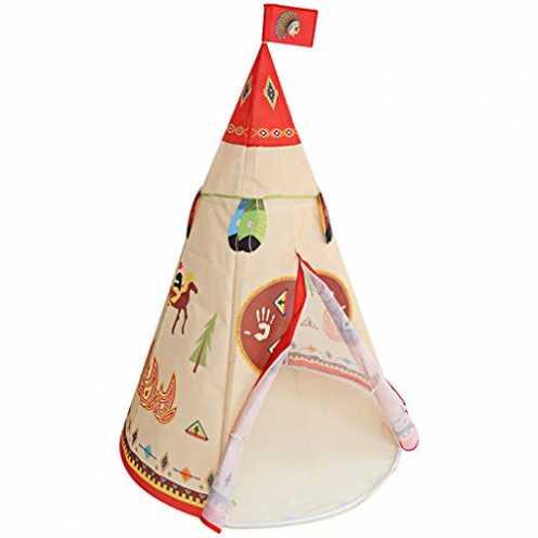 nachhaltig Longra Spielzeug Indianer Tipi Zelt Für Kinder Spielhaus - Faltbares Indoor & Outdoor S... ökologisch
