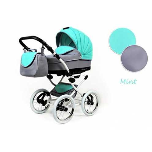 nachhaltig Lux4Kids Retro Kinderwagen 3 in 1 Komplettset mit Autositz Buggy Megaset Marget Mint 3in1 mit Autositz ökologisch