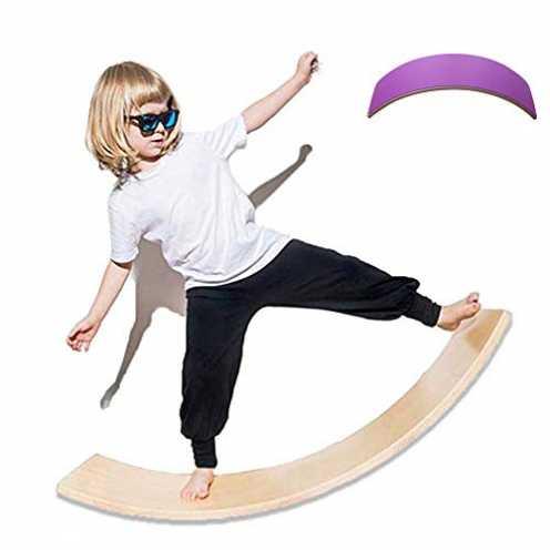 nachhaltig lxfy Holz Balance Board Wobbel für Yoga Curvy Board, Training Balance Toy Indoor Curved... ökologisch