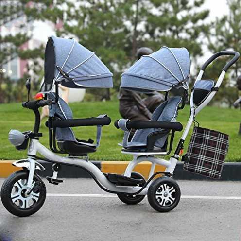 nachhaltig LZTET Twins Dreirad Kinderwagen Kinderwagen Faltbar und Multifunktional Hochwertigen Kinderwagen,GreyB ökologisch