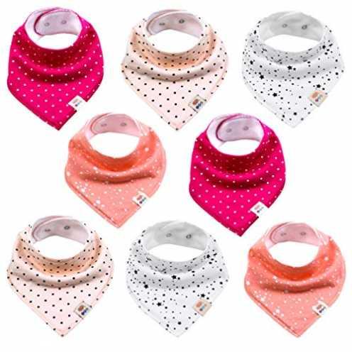 nachhaltig Baby Dreieckstücher 8 Stück Halstuch süße unisex aus Baumwolle mit verstellbaren Druckk... ökologisch