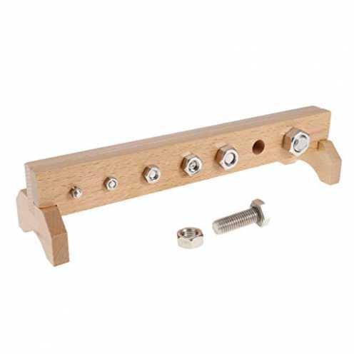 nachhaltig Holz Montessori Material Spielzeug - Schrauben, Muttern Mit Holzständer 30 x 12 x 9,7 c... ökologisch