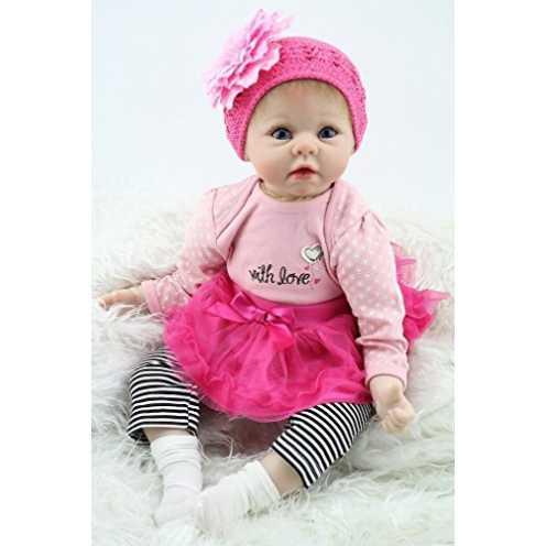 """nachhaltig MAIDEDOLL 22"""" Realistische Reborn Baby Puppe Kind Handgemachtes Mädchen Weiche Silikon Vinyl Kleinkind Magnetisch Mund ökologisch"""