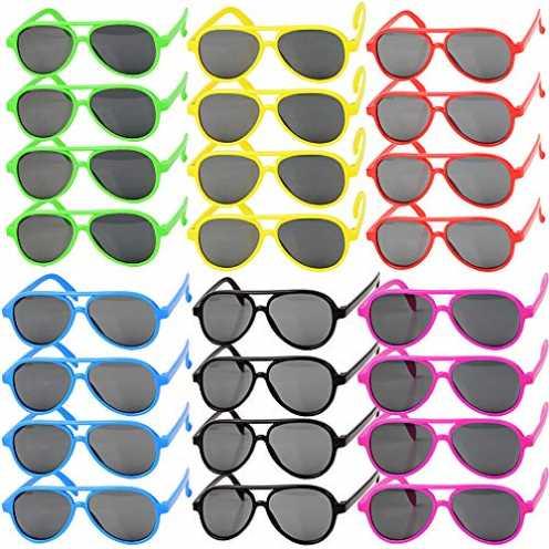 nachhaltig MEJOSER 24 STK und 6 Farbe Party Sonnenbrille Lustige Retro Neon Brillen Pilotbrille Fl... ökologisch