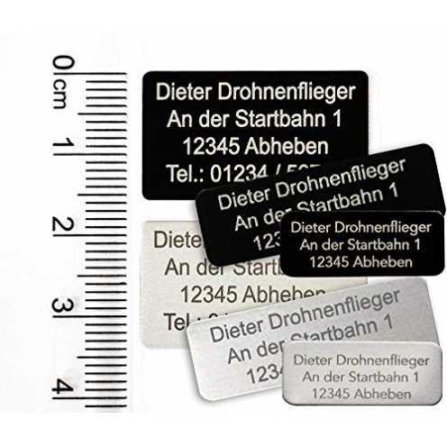 nachhaltig MJ Onlinehandel Drohnen-Kennzeichnung mit 3-5 Zeilen Schrift, Plakette Alu eloxiert - K... ökologisch