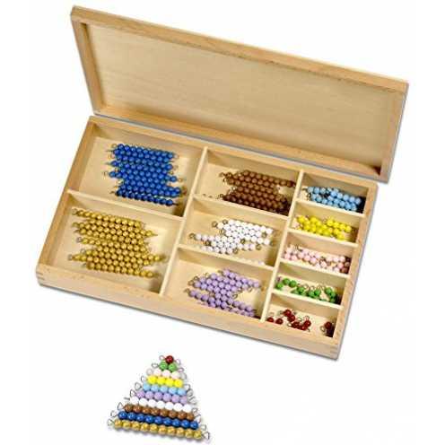 nachhaltigMontessori Perlenmaterial, farbig 1-10, 101-Teile in Holzbox ökologisch