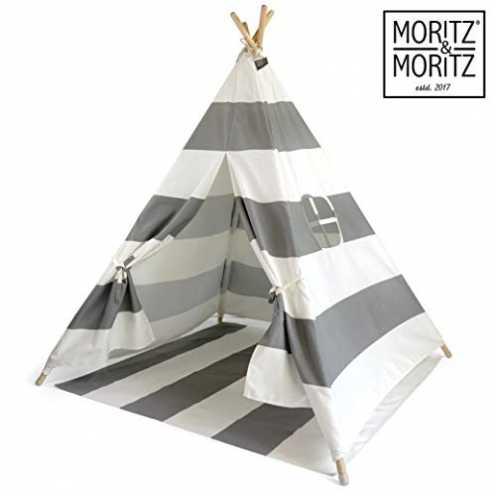 nachhaltig Moritz & Moritz Tipi Zelt für Kinder - Grau Gestreift - Kinderzelt Spielzelt Geschenkid... ökologisch