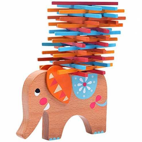 nachhaltig Natureich Elefant Montessori Stapel Spielzeug aus Holz zum Geschicklichkeit Lernen mit ... ökologisch