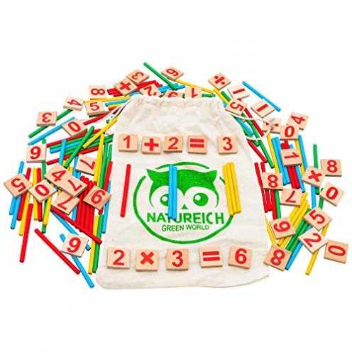 nachhaltig Natureich Mathematik Montessori Spielzeug aus Holz inkl. Stoffbeutel zum Aufbewahren Za... ökologisch