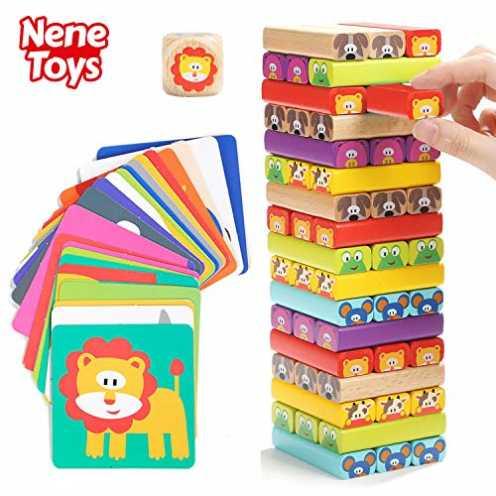 nachhaltig Nene Toys - Pädagogisches Kinderspiel ab 3 Jahre - Wackelturm 4 in 1 aus Holz mit Farb... ökologisch