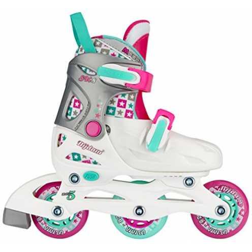 nachhaltig Nijdam Kinder SK8 Inline Skates Junior Adjustable • Hardboot •, White/Aqua/Fuchsia, 27-30 ökologisch