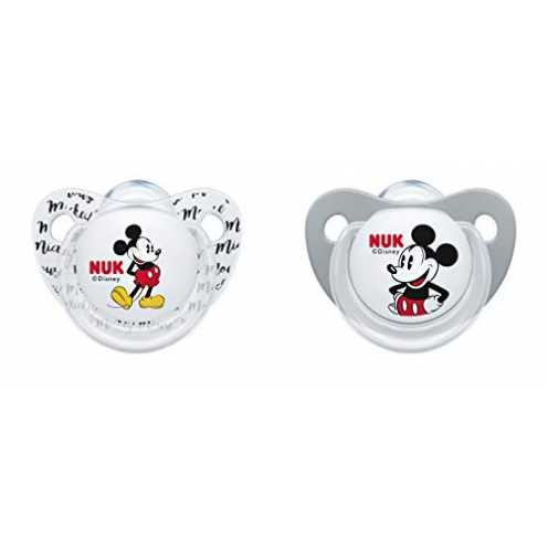nachhaltig NUK 10176213 Disney Mickey Mouse Trendline Schnuller, Silikon, 6-18 Monate, BPA-frei, 2... ökologisch