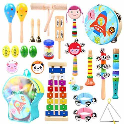 nachhaltig Ohuhu 27 Stück Musikinstrumente Musical Instruments Set, Spielzeug von Holz Percussion ... ökologisch