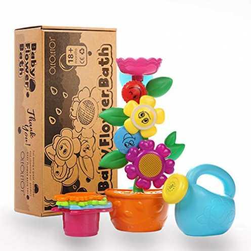 nachhaltig OleOletOy Baby Badespielzeug Set - Süße Blume Wassermühle und 4 STK. Stapelbecher - Kin... ökologisch