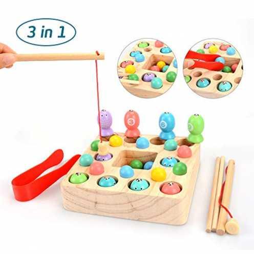 nachhaltig OYMMENEY Holzspielzeug 3 In 1 Angelspiel Montessori Spielzeug Lernspielzeug Magnettafel... ökologisch