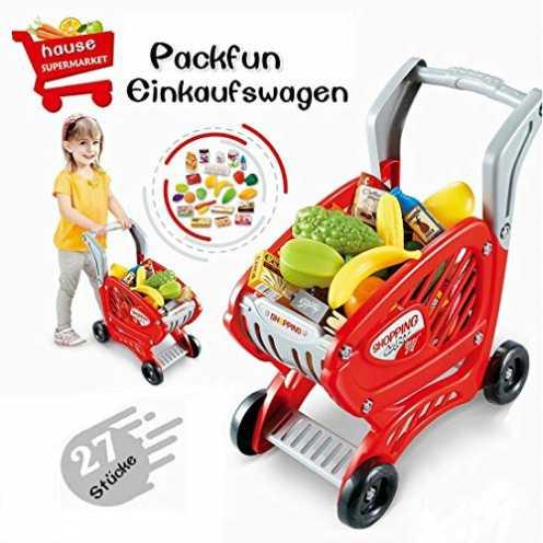 nachhaltig Packfun Kinder Einkaufswagen Spielzeug Supermarkt Einkaufswagen Trolley Cart mit Preten... ökologisch