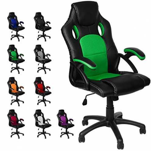 nachhaltig Gamer Stuhl Gaming Schreibtischstuhl Chefsessel Bürostuhl Ergonomisch, Grün, 9 Farbvari... ökologisch
