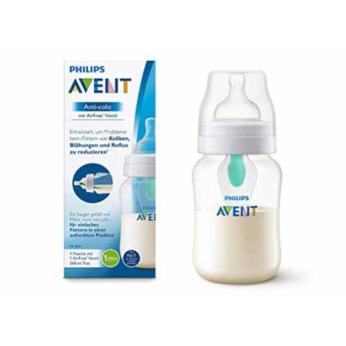 nachhaltig Philips Avent Anti-colic Flasche mit AirFree Ventil SCF813/14, 260ml, 1er-Pack, transpa... ökologisch